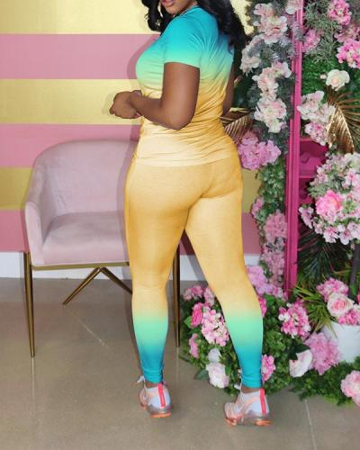 Gradient V Neck Casual Wear Pant Set