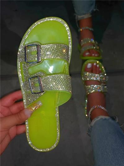 Slip-On Flat With Thong Rhinestone Slippers
