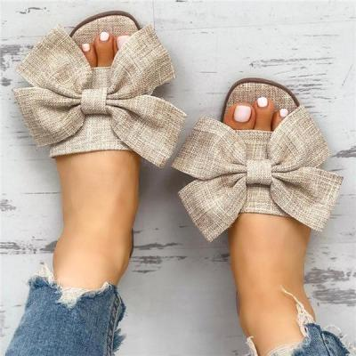 Slip-On Flat With Flip Flop Bow Plain Slippers