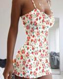 Floral/Camo Print Slim Fit Mini Dress