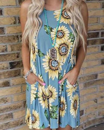 Sunflower Pocket Mini Dress Without Necklace