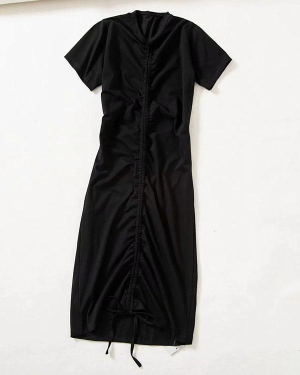 Short Sleeve Drawstring Mini Dress