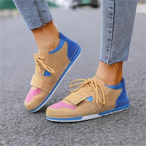 Women Hit Color Lace-up Flat Heel Sneakers