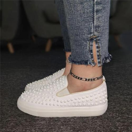 Women Athletic Rivet Slip On Platform Sneakers