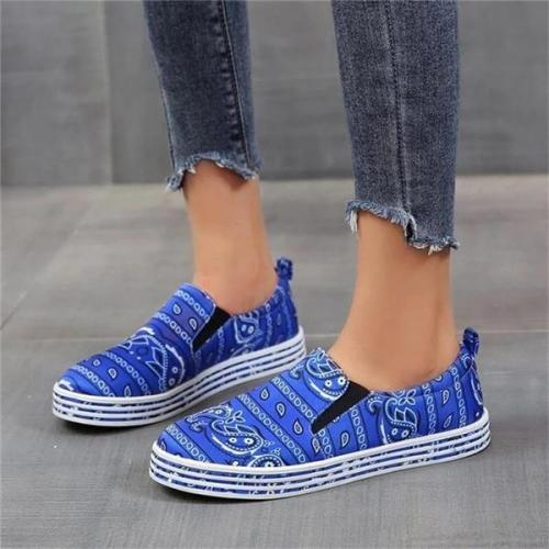 Women Fabric Characteristic Pattern Slip On Skate Shoes