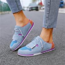 Women Hit Color Shoelace Slip On Flat Heel Slippers