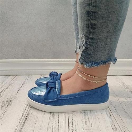Women Bowknot Sequin Slip On Flat Heel Skate Shoes
