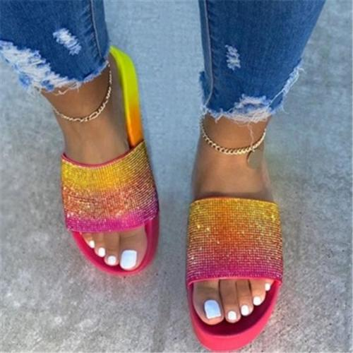 Shining Rainbow Muti Colors Outdoor PCU Thick Sole Slippers