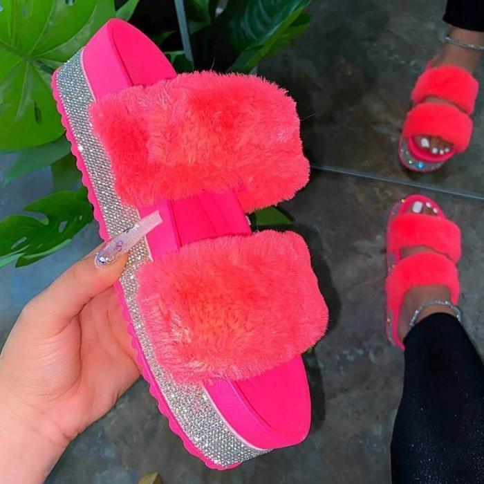 Women Faux Fur Rhinestone Slip On Slippers