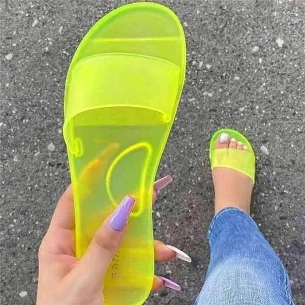 Jelly Texture New Comfortable Flat Sandals And Slippers