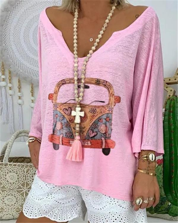 Women Daily Causal Plus Size Shift Car Printed V Neck Long Sleeve Cotton-Blend Tops
