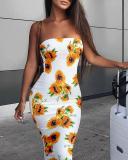 Sexy Sunflower Bodycon Tube Dress