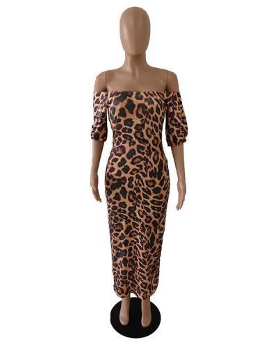 Off Shoulder Leopard Print Midi Dress