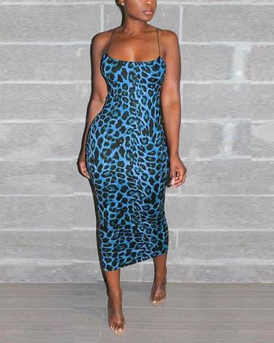 Spaghetti Strap Leopard Print Midi Dress