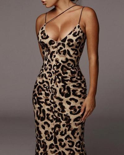 Irregular Spaghetti Strap Leopard Print Maxi Dress