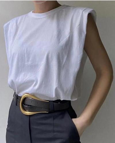 Padded Shoulder Sleeveless T-shirt