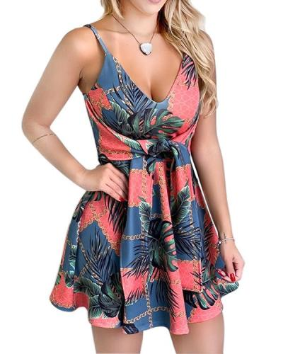 Floral Print Tied Detail Dress