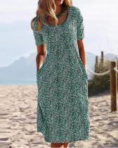 Summer Printed Midi Dress Crew Neck Dresses