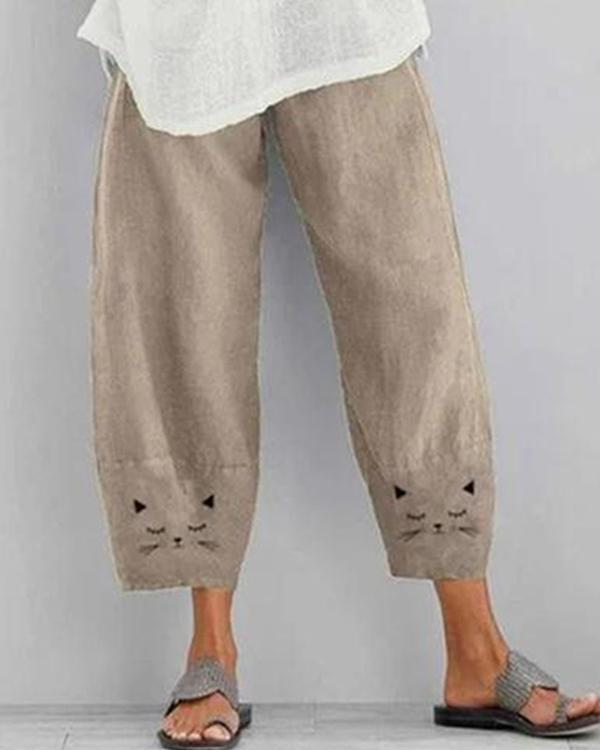 Cotton And Linen Cat Print Cropped Pants