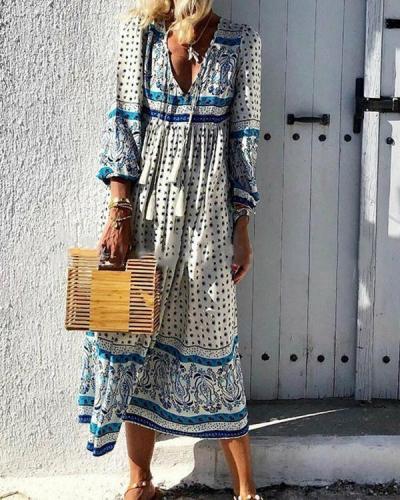 V Neck Holiday Long Sleeve Printed Dress