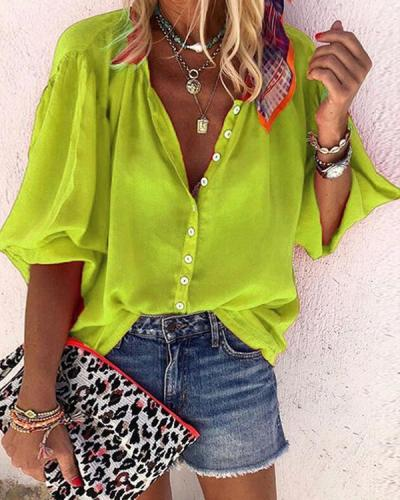Women's Solid Colored T-shirt Daily V Neck Tops