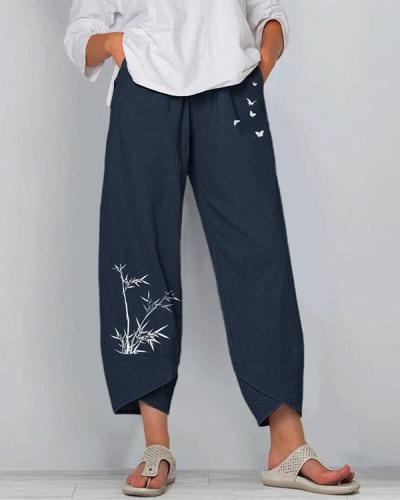 Bamboo And Butterflies Print Elastic Waist Pants For Women