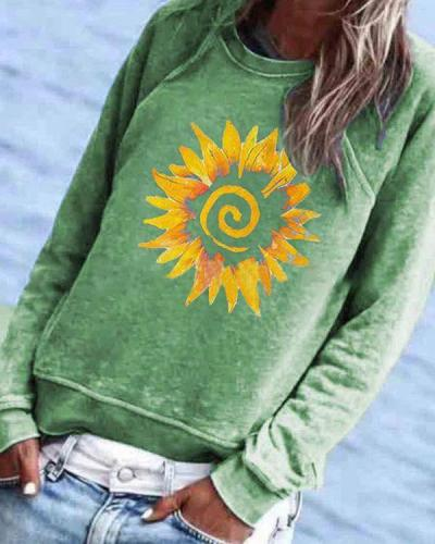 Casual Floral Printed Long Sleeve Crew-Neck Top