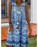 Casual Sleeveless V Neck Printed Dresses