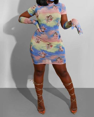 Tie Dye Print Angel Pattern Bodycon Dress & Gloves Set