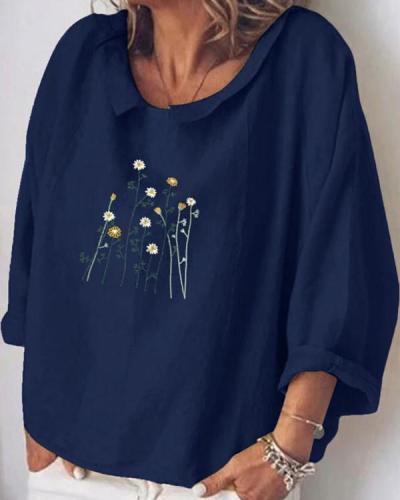 Fashion Lapel Flower Printed Long-sleeved Shirt