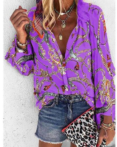 Autumn and Winter New Printing Stand Collar Long-sleeved Casual Blouse