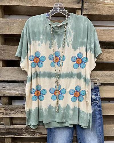 Flower Printed Short Sleeve Crew Neck Shirt & Top