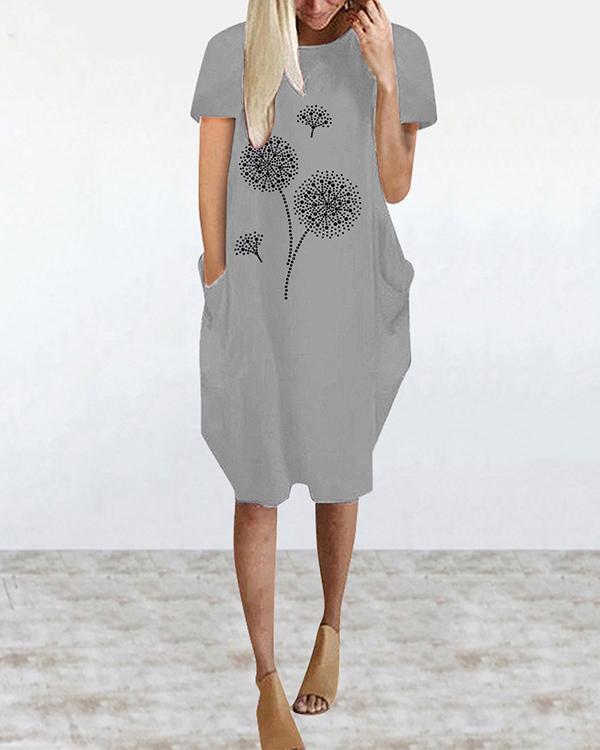 Short Sleeve Crew Neck Casual Loose Dress