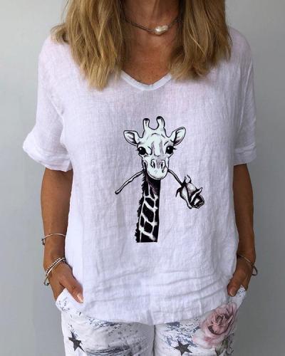 Animal Printed V-Neckline Half Sleeve Casual T-shirts