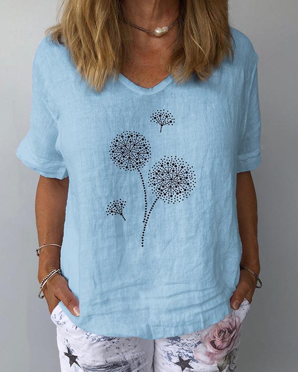 Women Printed V-Neckline Half Sleeve Casual T-shirts