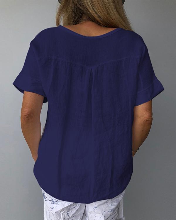 Floral V-Neckline Half Sleeve Casual T-shirts