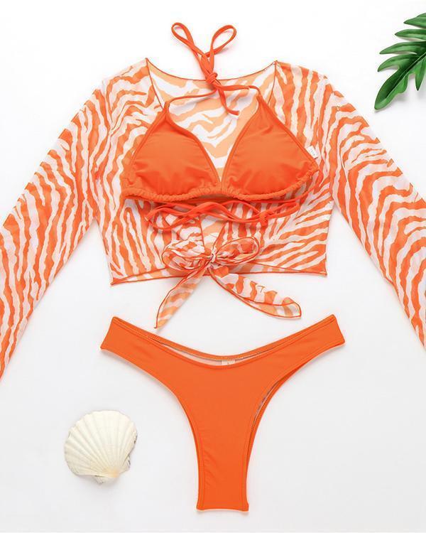 Swimsuit Bikini Three-piece Mesh Swimsuit