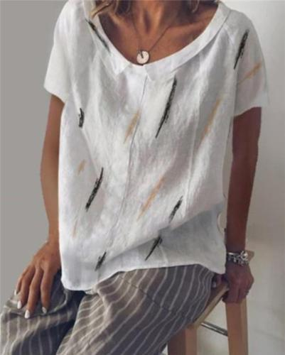 Crew Neck Printed Holiday Summer Women Daily Tops