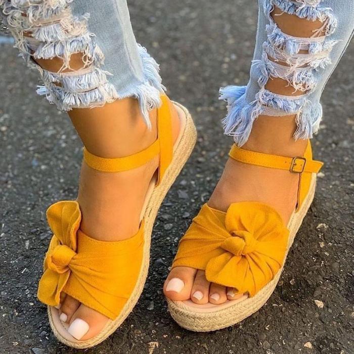 Women Bowknot Buckle Strap Platform Espadrille Sandals