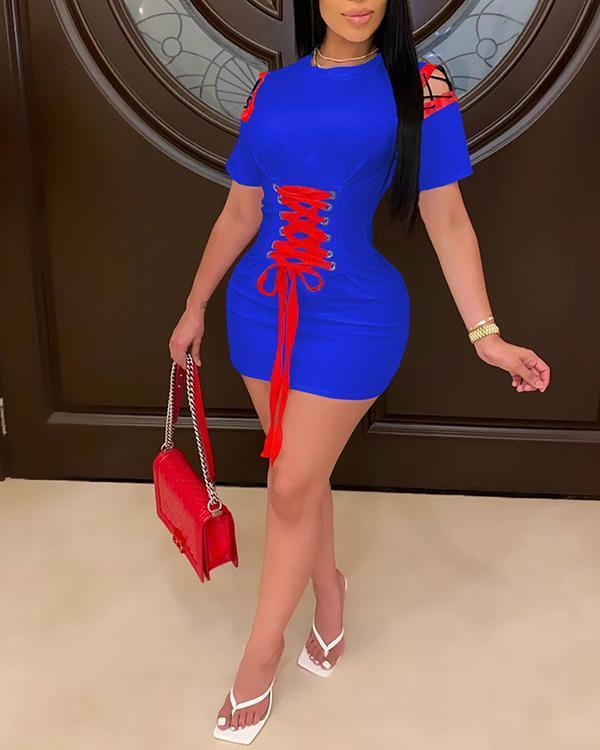Solid Lace-Up Hollow Out Dress