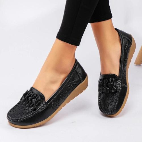 Women Flower Hollow-out Slip-on Platform Loafers