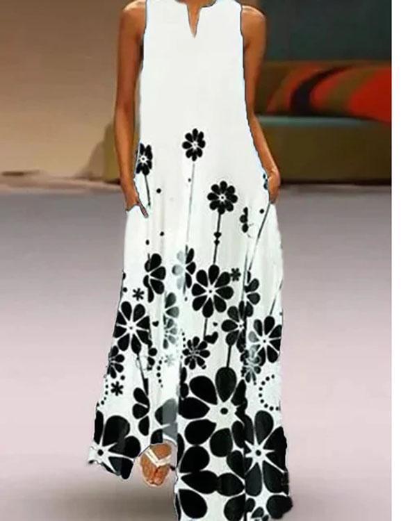 Black Sleeveless Cotton-Blend Floral-Print Dresses