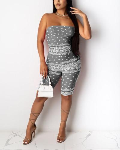 Printed Sleeveless Fitted Romper