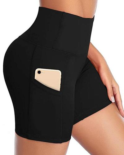 Solid High Waist Pocket Yoga Shorts
