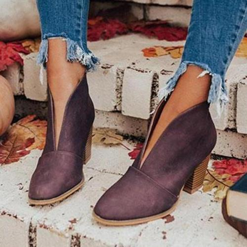 Fashion Faux Leather Slip-on Boots