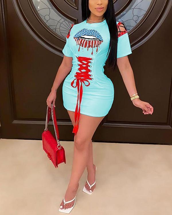 Lip Flag Print Eyelet Lace-Up Hollow Out Dress
