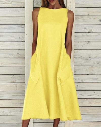 Solid Color Sleeveless Round Neck Maxi Dress