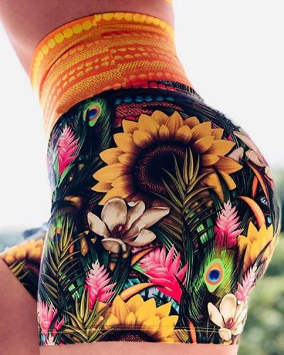 Flower Print High Waist Sporty Shorts