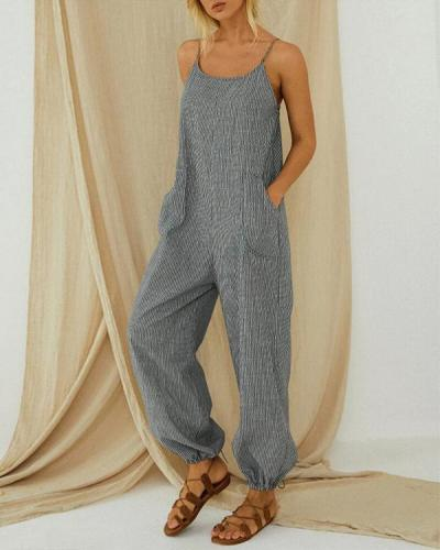 Striped Adjustable Shoulder Strap Loose Jumpsuit With Pocket