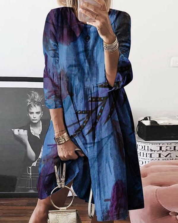 Normal Printed Casual Long-Sleeved Dresses